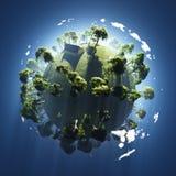 Sommer auf kleinem grünem Planeten Stockbild