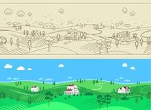 Sommer-Bauernhof-Landschaftsnahtloser Hintergrund Lizenzfreies Stockfoto