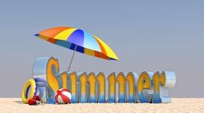 Sommer der Illustrations-3D auf dem Strand Lizenzfreies Stockbild