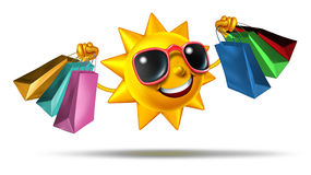 Sommer-Einkaufen Stockfoto