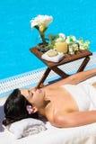 Sommer entspannen sich im Badekurort Stockbild