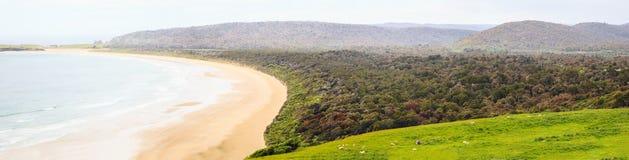 Sommer-Familien-Tätigkeit, gehend zur Sandfly-Bucht wild lebende Tiere und Panoramablicke der Sanddünen beobachten, Küstenstrand Stockbild