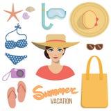 Sommer-Ferien-Satz Stockfoto