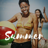 Sommer-Ferien-Spaß-Feiertags-Entspannungs-Bruch-Konzept lizenzfreies stockbild
