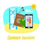 Sommer-Ferien-Vektor Clipart mit Beschriftung stock abbildung