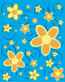Sommer flowers. Vector illustration of yellow flowers on a blue background Royalty Free Stock Image