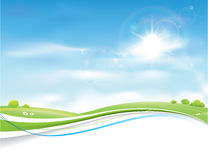 Sommer-Himmel-Hintergrund-Vektor-Design Stockbilder