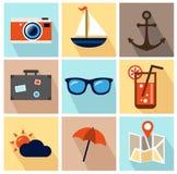 Sommer-Ikonen - flaches Design Lizenzfreie Stockfotos