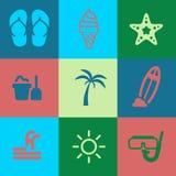 Sommer-Ikonen-Satz Stockbilder