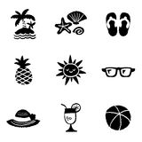 Sommer-Ikonen-Satz und Zeichen Stockfoto
