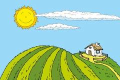 Sommer im Dorf stock abbildung