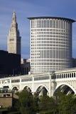 Sommer in im Stadtzentrum gelegenem Cleveland lizenzfreies stockfoto