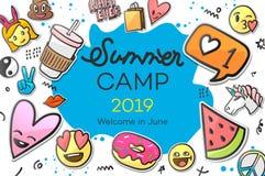 Sommer-Lager 2019 für die Kinder kreativ und buntes Plakat mit Emoticonaufklebern, Vektorillustration stock abbildung