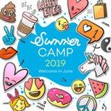 Sommer-Lager 2019 f?r die Kinder kreativ und buntes Plakat mit Emoticonaufklebern, Vektorillustration lizenzfreie abbildung