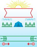 Sommer-Lager und kampierendes Plakat Stockfoto