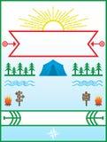 Sommer-Lager und kampierendes Plakat mit Grenze Lizenzfreies Stockbild
