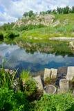 Sommer, Landschaft, Natur, See, Wald und Feld Lizenzfreies Stockbild