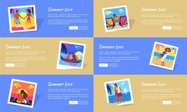 Sommer-Liebes-Fotos mit Text-Vektor-Netz-Fahne stock abbildung