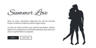 Sommer-Liebes-Schablonen-Plakat mit Paar-Schattenbild stock abbildung