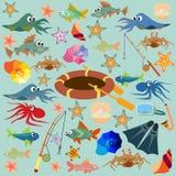 Sommer, Meer, Sommer Illustration auf dem Hintergrund Lizenzfreies Stockbild