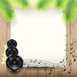 Sommer-Musik-Hintergrund mit Papier unter Palme Stockbild