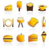 Sommer-Nahrungsmittel-und Getränk-Ikonen Stockbilder