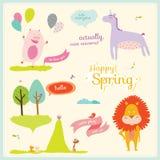 Sommer- oder Frühlingsillustration mit lustigen Tieren Stockbilder