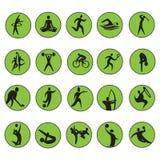 Sommer-Olympische Spiele 20 Vektorsatz mit zwanzig Ikonen Lizenzfreies Stockfoto