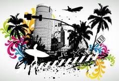 Sommer-Palmen-Stadt Lizenzfreie Stockbilder