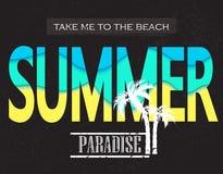 Sommer paradice Nehmen Sie mich zum Strand Vektorillustration für T-Shirt und anderes Gebrauch Stockfoto