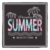 Sommer paradice Stoppen Sie mit rotem Lippenstift und Wimperntusche auf einem weißen Hintergrund ab Vektorillustration für T-Shir Stockfoto