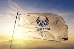 2020 Sommer Paralympics-Emblemflaggentextilstoffgewebe, das auf den Spitzensonnenaufgangnebelnebel wellenartig bewegt vektor abbildung