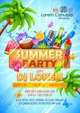 Sommer Partyl-Plakatdesign Lizenzfreie Stockbilder