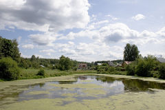 Sommer peyzzh mit Teich lizenzfreie stockfotografie