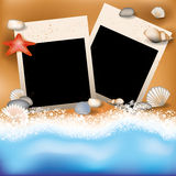 Sommer photoframe mit Starfish Lizenzfreie Stockfotografie