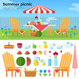 Sommer-Picknick und Ikonen von Nahrungsmitteln Lizenzfreies Stockbild