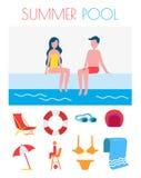 Sommer-Pool-Plakat mit Ikonen-Vektor-Illustration lizenzfreie abbildung