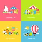 Sommer-Reise-Vektor-flache Konzepte eingestellt Stockbilder