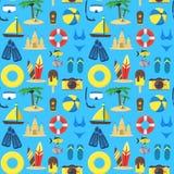 Sommer-Rest-Hintergrund-Muster auf einem Blau Vektor vektor abbildung