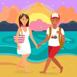 Sommer-romantische Ferien-Karikatur-Illustration lizenzfreie abbildung