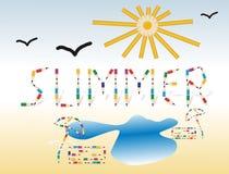 Sommer. Saisonhintergrund mit farbigen Bleistiften Lizenzfreies Stockfoto