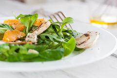 Sommer salad with rocket salad, mandarin, mushrooms and cheese gorgonzola in a white ceramic bowl Royalty Free Stock Photography
