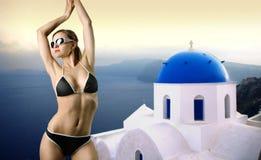 Sommer in Santorini lizenzfreies stockbild