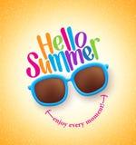 Sommer-Schatten mit hallo Sommer-glücklichem buntem Konzept lizenzfreie abbildung