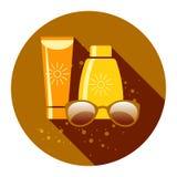 Sommer-Sonnenschutz-flache Vektor-Illustration Stockfotos