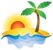 Sommer-Sonnenuntergang-Logo Stockfotografie