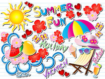 Sommer-Spaß-Gekritzel-Vektor-Illustration lizenzfreie abbildung