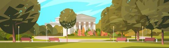 Sommer-Stadt-Park mit Stadtgebäude-Hintergrund-Grün-Bäumen und Holzbank lizenzfreie abbildung