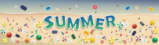 Sommer-Strand-Ferien-gesetzter Sand-tropische Feiertags-Fahne vektor abbildung