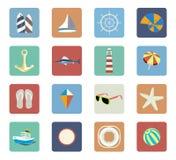 Sommer-Strand-Ferien-Ikonen-Satz Stockbild
